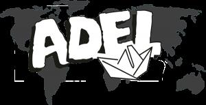 Čiernobiele logo neziskovej organizácie ADEL