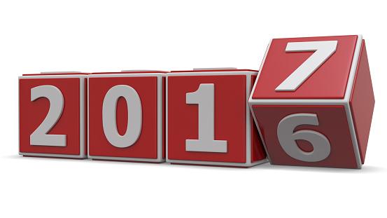 Kocky zobrazujúce prelom medzi rokmi 2016 a 2017